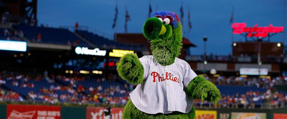 PHOTO: The Phillie Phanatic taunts the Miami Marlins before a game against the Philadelphia Phillies at Citizens Bank Park on Sept. 17, 2016, in Philadelphia.