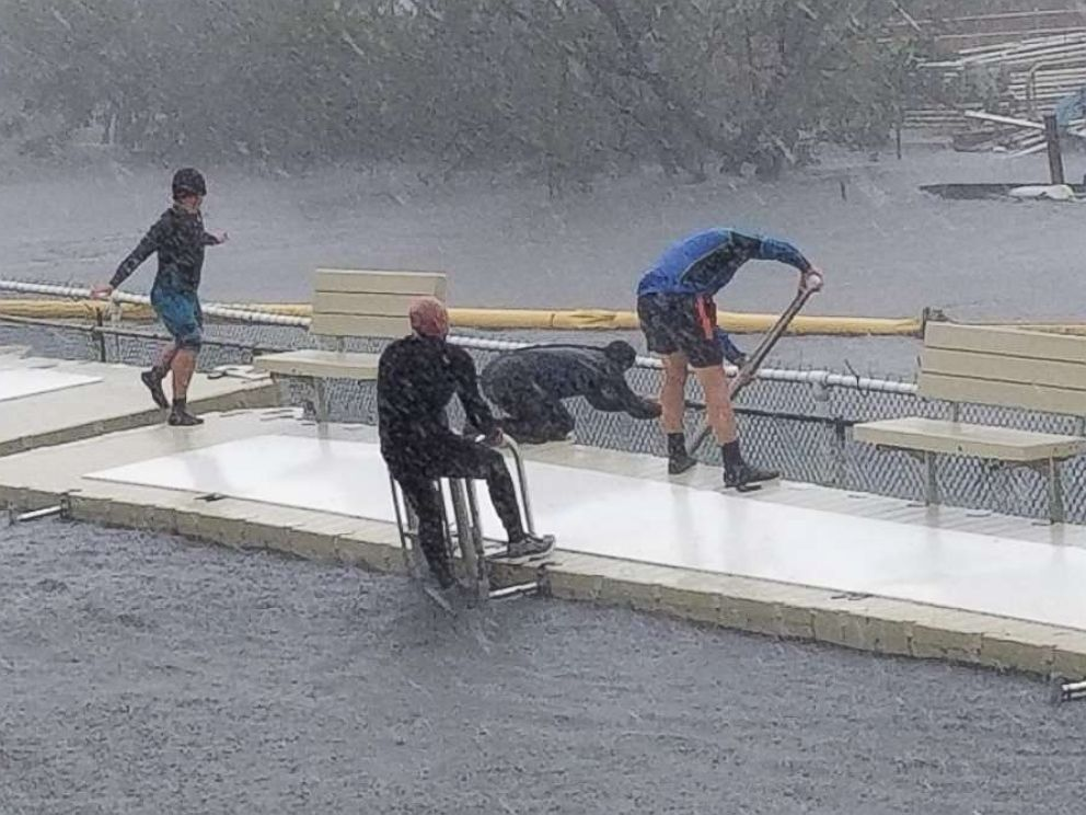 PHOTO: Phillip Admire, director of zoology at Island Dolphin Care in Key Largo, Florida, braved Hurricane Irma to care for the 8 dolphins that are housed at his non-profit facility.