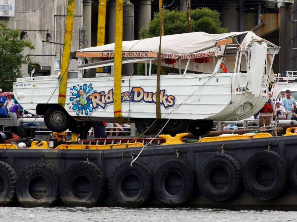 PHOTO: An amphibious craft is salvaged from the Delaware River in Philadelphia, July 9, 2010. An amphibious sightseeing boat that stalled in the Delaware River was knocked over by an oncoming barge spilling 37 people overboard.
