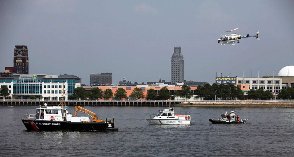 PHOTO: Rescue vessels are seen on the Delaware River in Philadelphia, July 7, 2010. Coast Guard officials say a barge collided with a tourist duck boat on the Delaware River in Philadelphia.