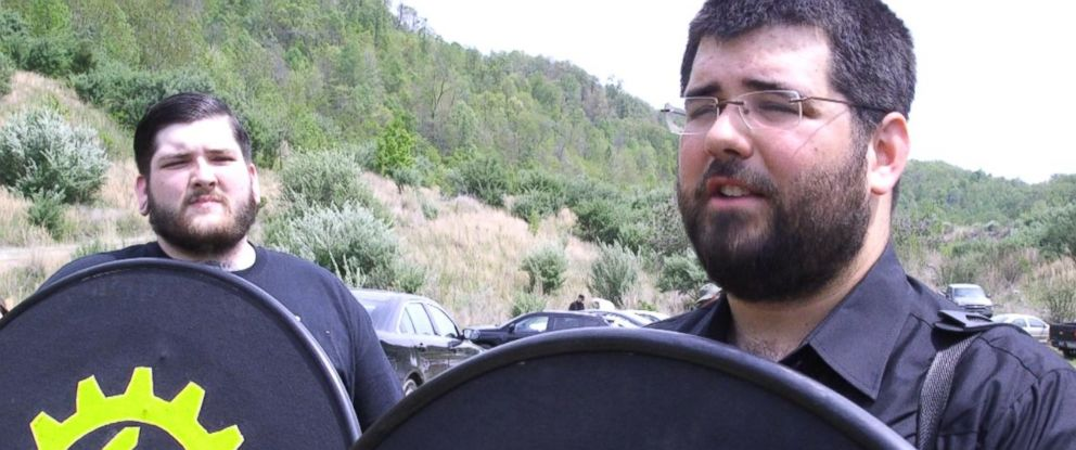 PHOTO: Matt Heimbach, right, a white nationalist and a member of Traditionalist Worker Party (TWP), and another member of the TWP are shown, April 29, 2017.