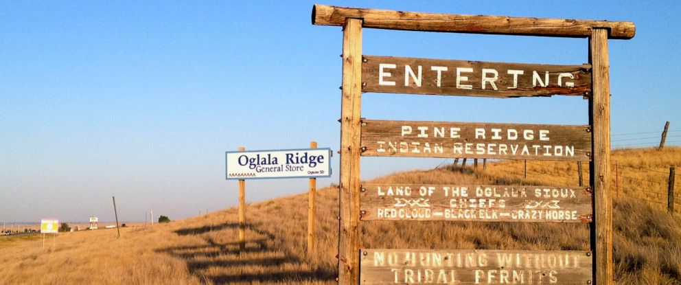 PHOTO: The entrance to the Pine Ridge Indian Reservation in South Dakota, home to the Oglala Sioux tribe.