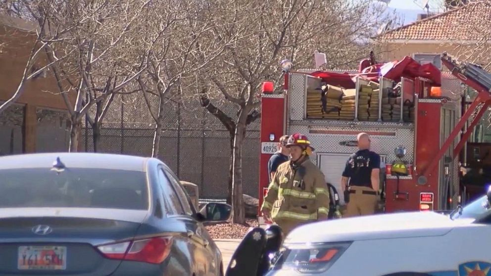 PHOTO: Firefighters outside Pine View high school in St. George, Utah, where a student brought a bomb to school in his backpack. Classmates turned him in when the backpack started smoking, March 5, 2018.