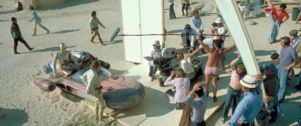 PHOTO: While filming in the Tunisian desert in 1976, crew member and boom operator Ken Nightingall was photographed wearing very short pink shorts, a look that has since inspired Star Wars fan costumes and a Facebook group.