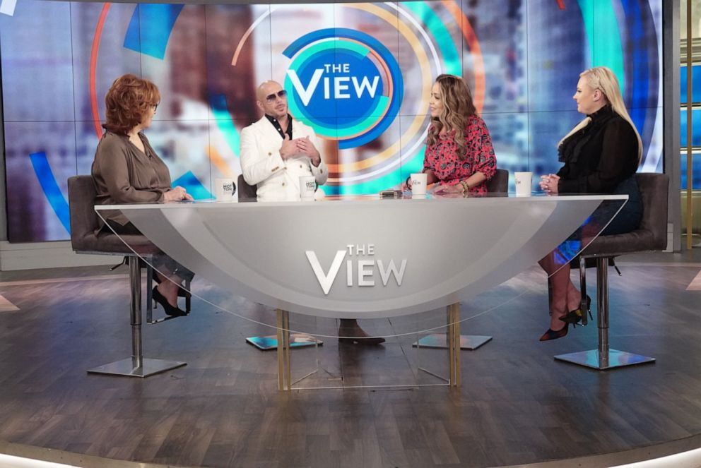 PHOTO: Pitbull discusses education, his new movie The Ugly Dolls, and the immigration crisis with The View co-hosts Joy Behar, Sunny Hostin, and Meghan McCain on Thursday, April 25, 2019.