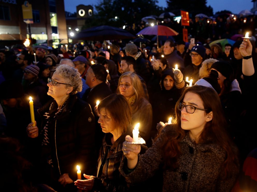 PHOTO: People hold candles as they gather for a vigil in the aftermath of a deadly shooting at the Tree of Life Congregation, in the Squirrel Hill neighborhood of Pittsburgh, Saturday, Oct. 27, 2018.