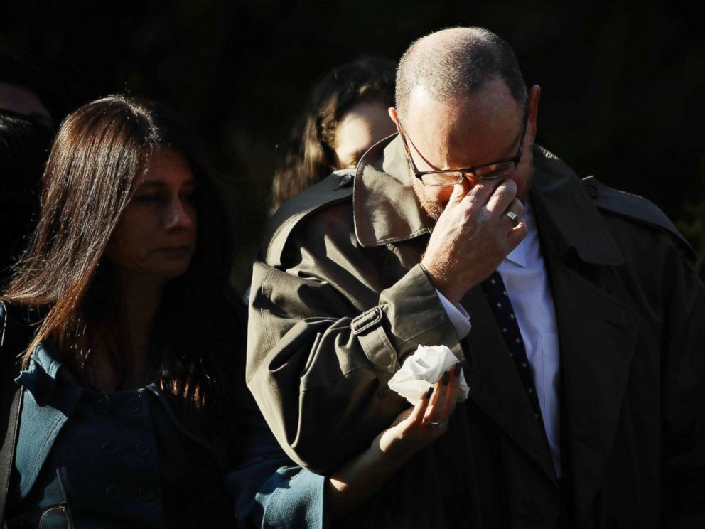 PHOTO: A mourner reacts outside Rodef Shalom Congregation before the funeral services for brothers Cecil and David Rosenthal, Oct. 30, 2018, in Pittsburgh.