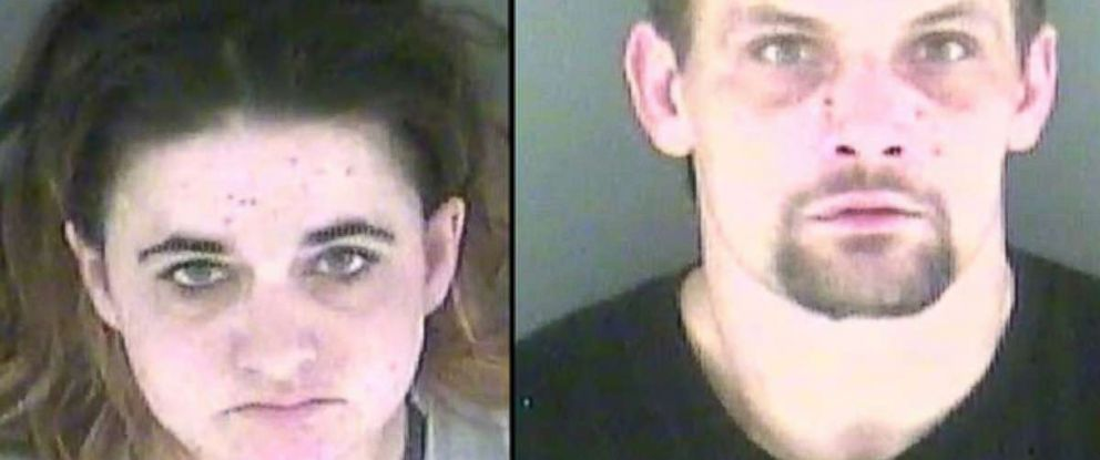 PHOTO: Sasha Fletcher and Joshua Parson are picture in a photo provided by The Shelbyville Police Department, Jan. 25, 2018, after they were arrested for allegedly using heroin while working at a Little Caesars Pizza in Indiana.