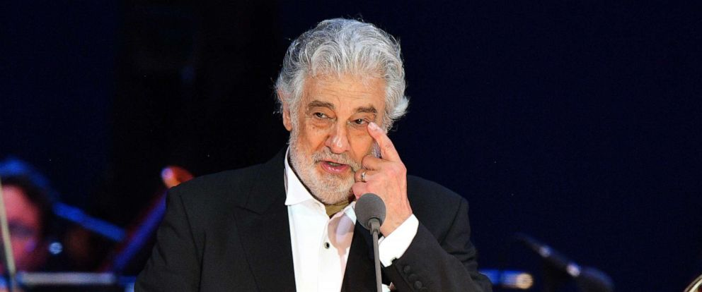 PHOTO: Spanish tenor Placido Domingo gestures as he performs during his concert in Szeged, southern Hungary, on Aug. 28, 2019.