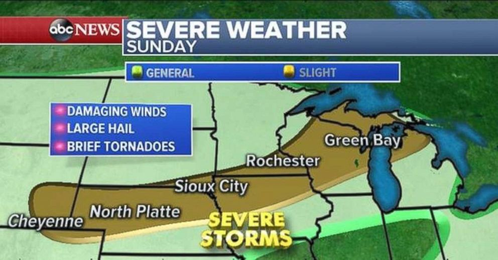Severe storms are possible from Wyoming to Michigan on Sunday.