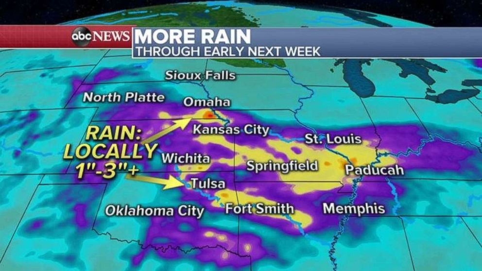 PHOTO: The Plains are expecting more rain in already flooded areas over the weekend and into next week.
