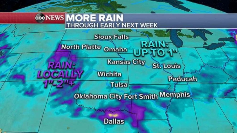PHOTO: More rain is expected in the Plains over the weekend and next week.
