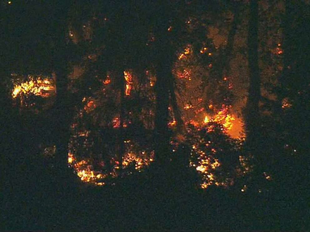 Flames could be seen on Ketron Island, Washington, where the stolen plane crashed late Friday, Aug. 10, 2018.