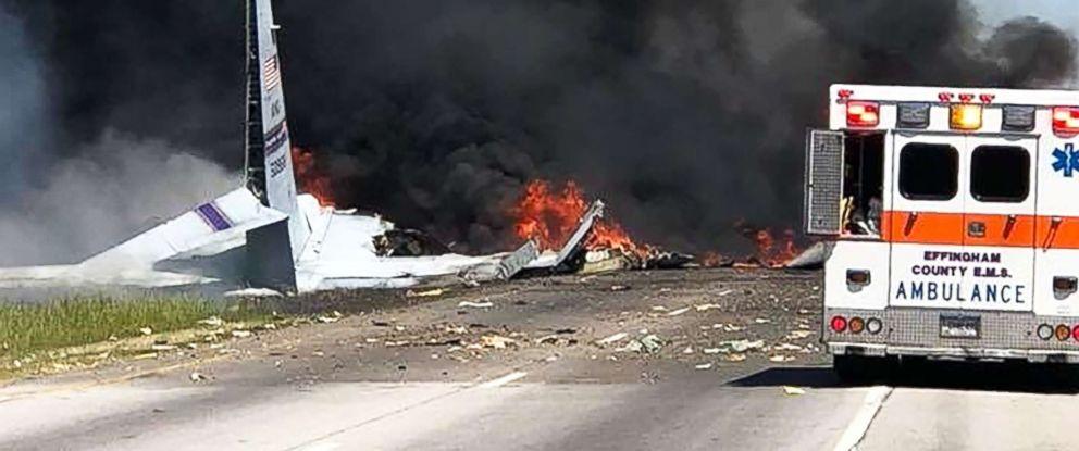 PHOTO: Smoke billows at the site of a military plane crash in Savannah, Ga., on May 2, 2018.