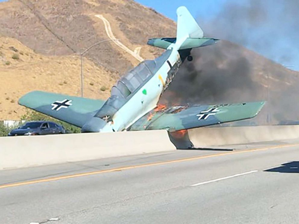 PHOTO: A small plane crashed on the 101 Freeway in Agoura Hills, Calif., Oct 23, 2018.