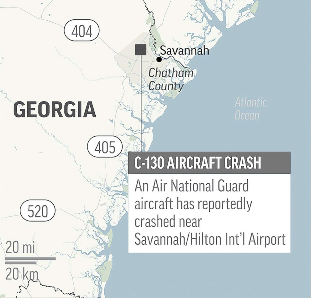 PHOTO: This map locates the area where an Air National Guard C-130 has crashed just outside of Savannah, Ga., on May 2, 2018.