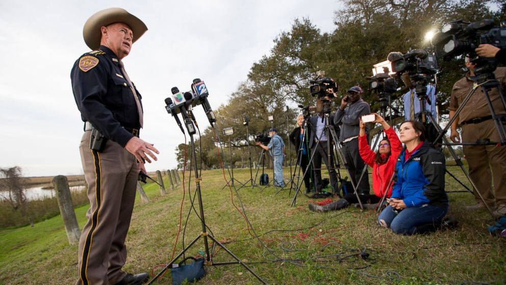 Chambers County Sheriff Brian Hawthorne gives an update on a plane crash in Trinity Bay during a news conference in Anahuac, Texas, Saturday, Feb. 23, 2019.