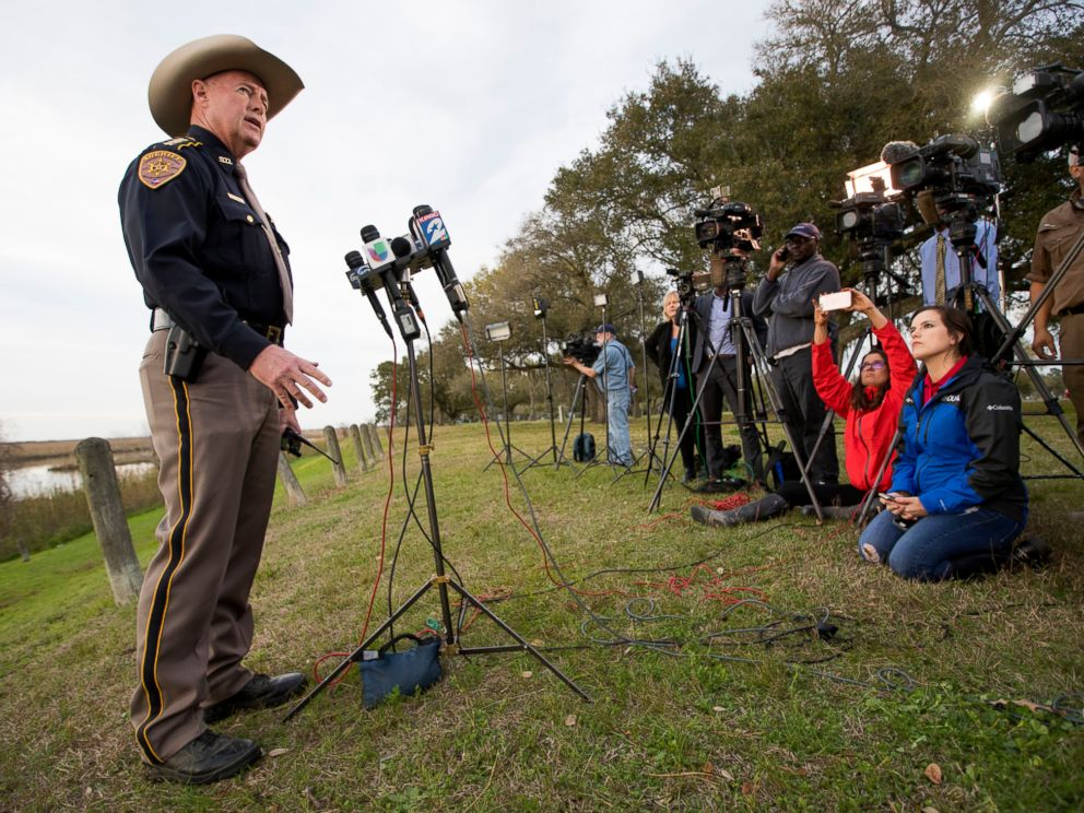 PHOTO: Chambers County Sheriff Brian Hawthorne gives an update on a plane crash in Trinity Bay during a news conference in Anahuac, Texas, Saturday, Feb. 23, 2019.