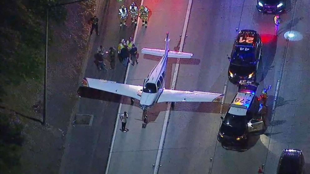 A small plane made an emergency landing on a Southern California freeway, Jan. 28, 2018.