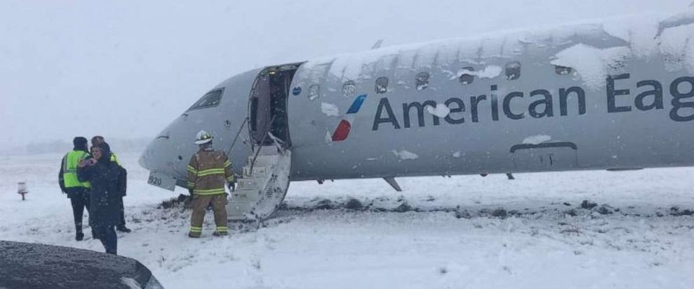 PHOTO: An American Airlines regional jet partially slid off the tarmac while taxiing off the runway in Columbia, Missouri, in heavy snow on Friday, Jan. 11, 2019. No one was injured.