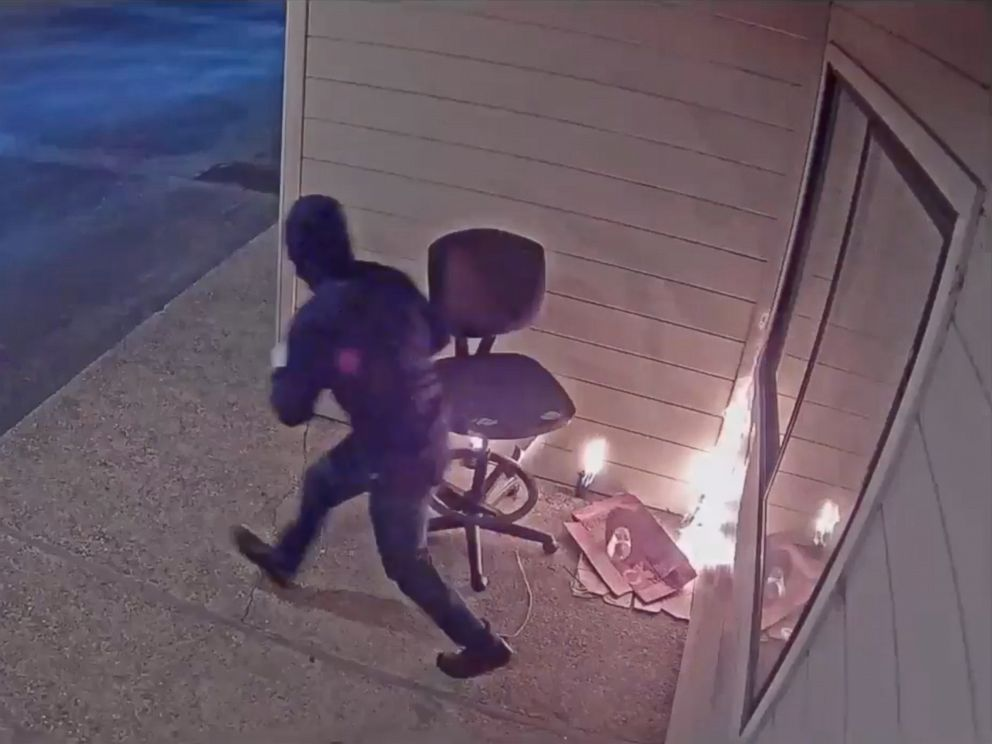 PHOTO: Security footage shows a person setting fire to a Planned Parenthood building in Watsonville, Calif., July 20, 2018.