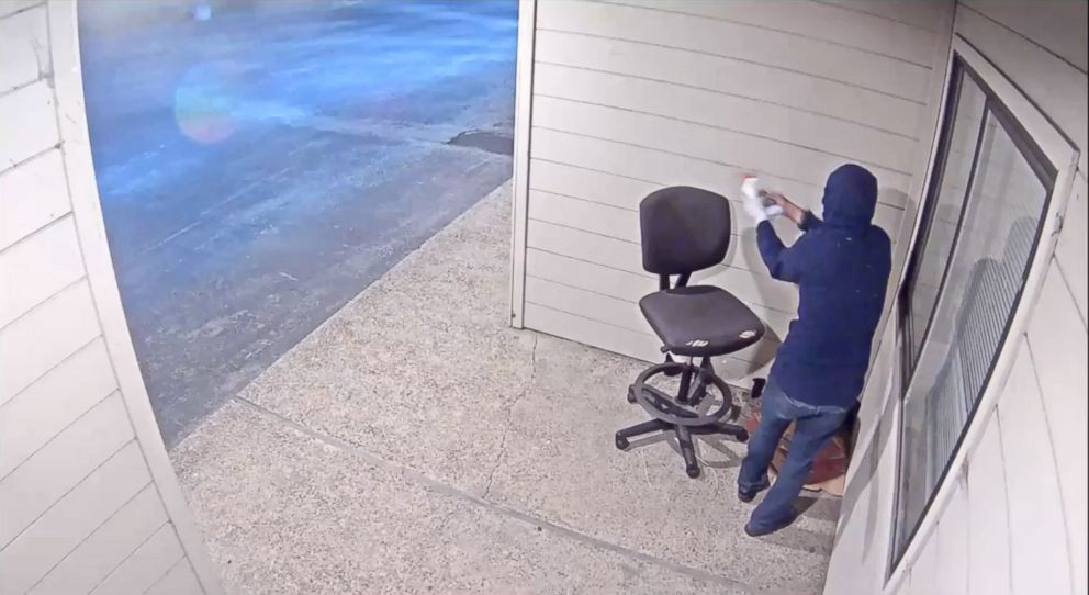 Security footage shows a person setting fire to a Planned Parenthood building in Watsonville, Calif., July 20, 2018.