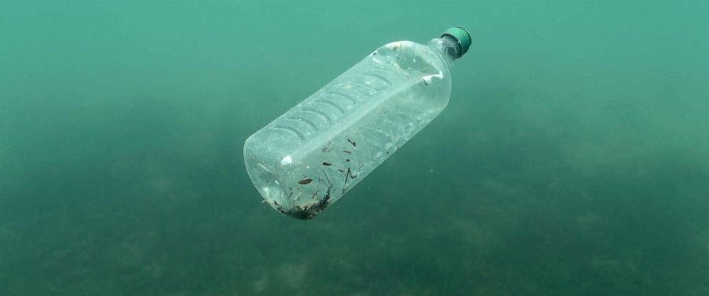 PHOTO: A plastic bottle is seen floating in an Adriatic sea, May 30, 2018.