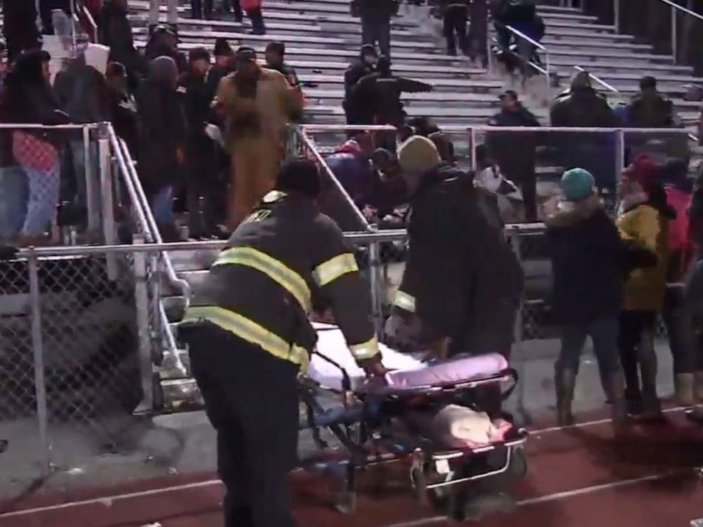 PHOTO: Emergency personnel respond to the scene of a shooting at a high school football game in Pleasantville, New Jersey, Nov. 15, 2019.
