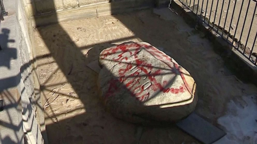 Plymouth Rock, other historical sites vandalized with red paint