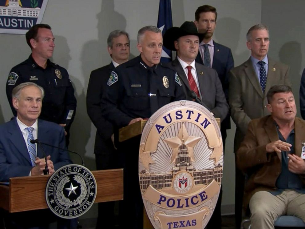 PHOTO: Authorities in Austin, Texas detail the 25-minute recording the suspect in the series of package explosions left on his phone, March 21, 2018.