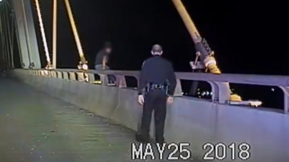 La Porte Police Department pull a female from the Fred Hartman Bridge, in Texas, May 25 2018.