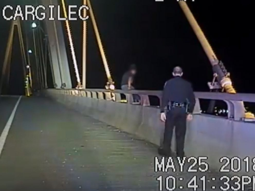 PHOTO: La Porte Police Department pull a female from the Fred Hartman Bridge, in Texas, May 25 2018.