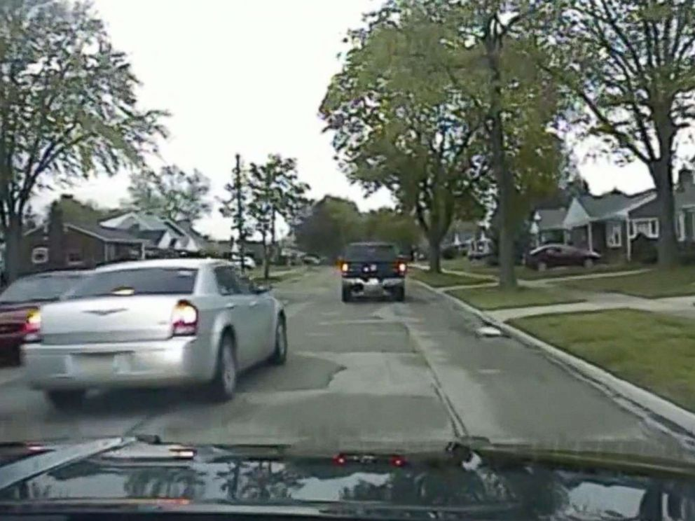 PHOTO: Dash cam shows car chase, May 10, 2018, in Dearborn, Mich.