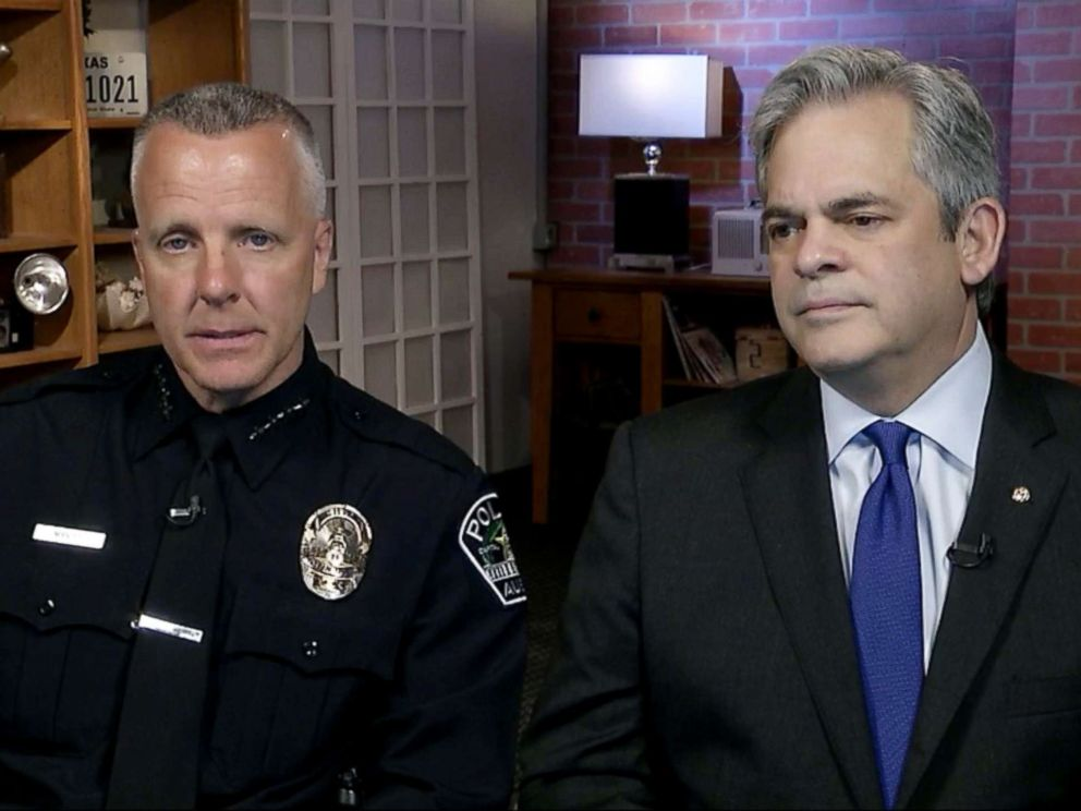 PHOTO: Interim police chief Brian Manley and Austin Mayor Steve Adler talk about the connection between three package bomb incidents on Good Morning America, March 13, 2018.
