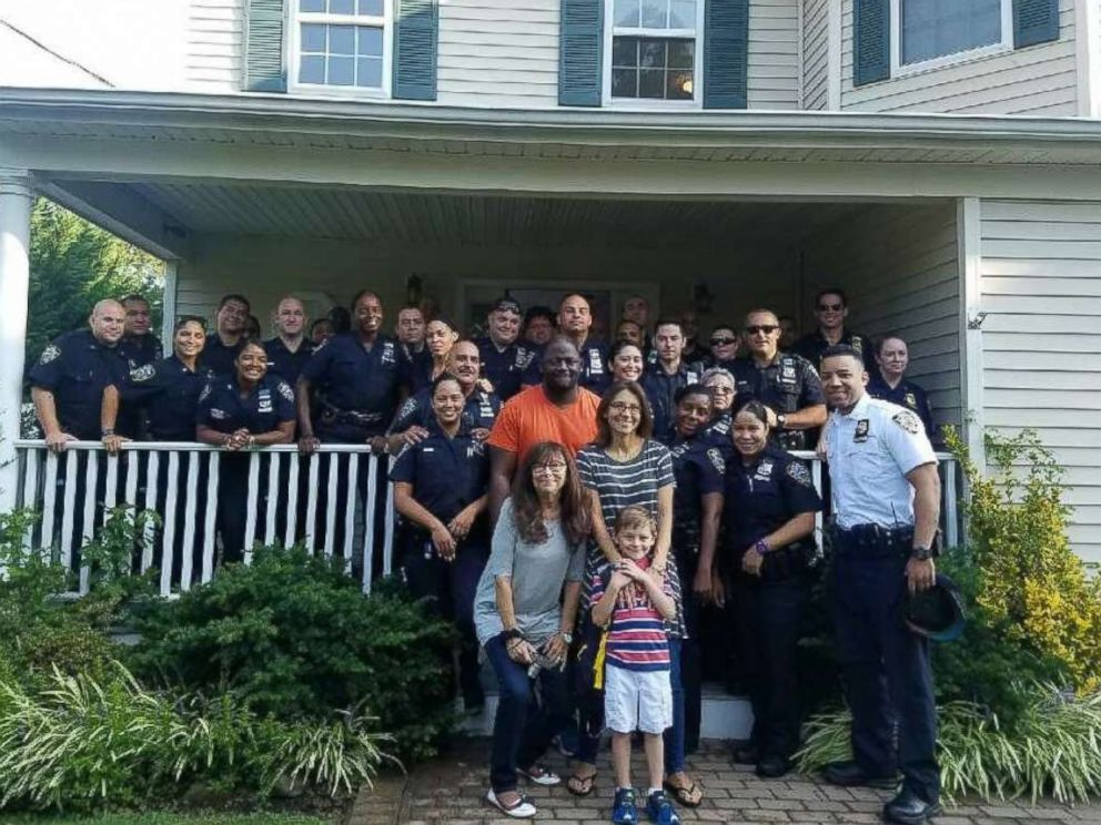 PHOTO: Officers greeted Austin Tuozzolo, the young son of fallen NYPD Sgt. Paul Tuozzolo, at his home in Suffolk County to send him off to his first day of school.