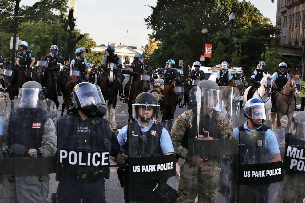 PHOTO: Police block 16th Street in Washington, D.C., near the White House, June 1, 2020.