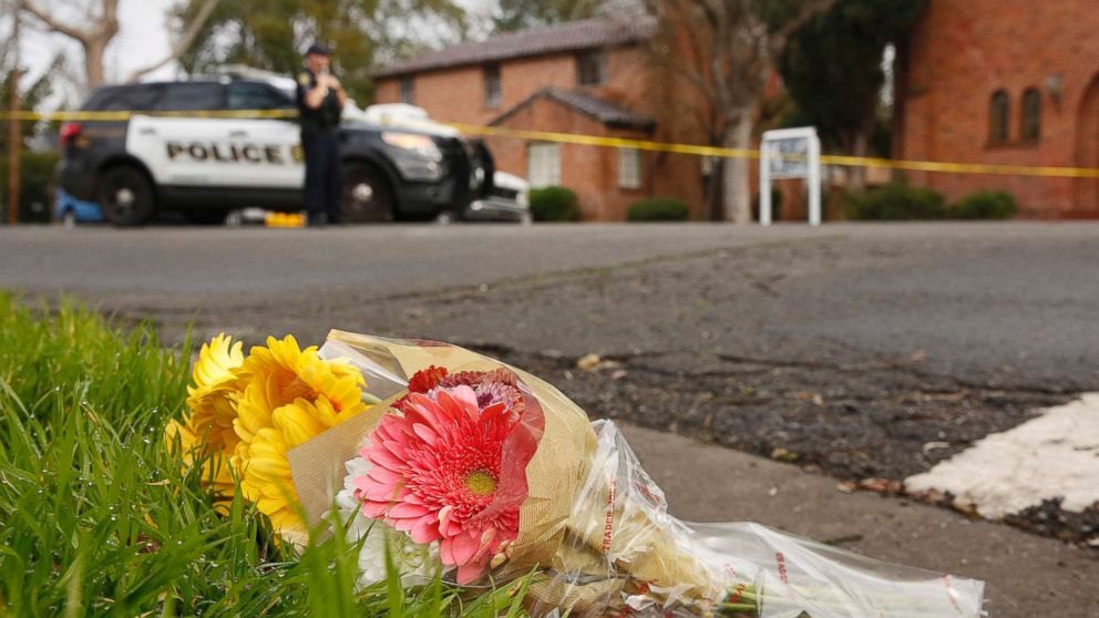 Flowers left at the scene where Davis Police Officer Natalie Corona was shot and killed in Davis, Calif., Jan. 11, 2019. Corona, 22, who had been on the job only a few weeks was killed by a suspect who opened fire as she was investigating a vehicle collision. The suspect was later found dead from a self-inflicted gunshot.