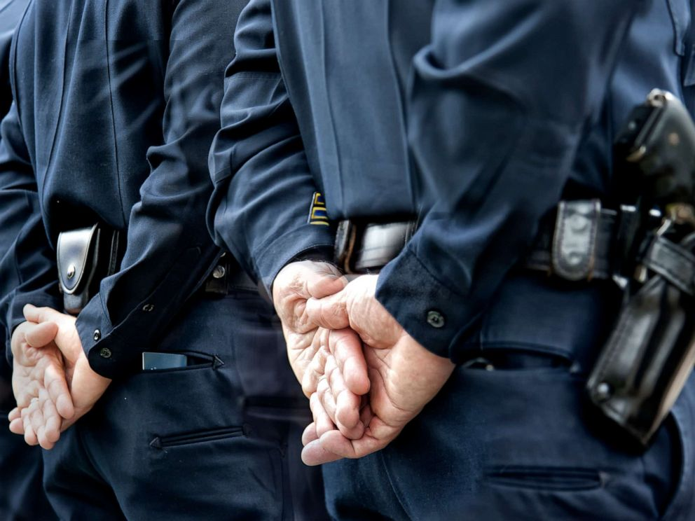 PHOTO: Officers stand attention in this stock photo.