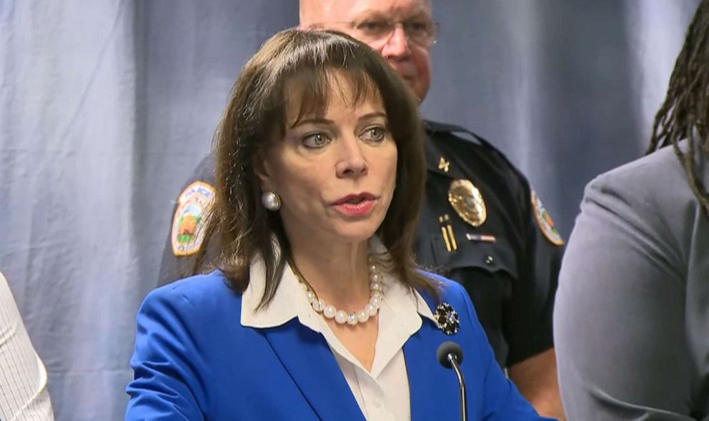 PHOTO: Miami-Dade State Attorney Katherine Fernandez Rundle speaks at a press conference on Aug. 7, 2019, about Homestead Police officer Lester Brown who has been charged with felony battery and official misconduct for pushing an inmate into a wall.