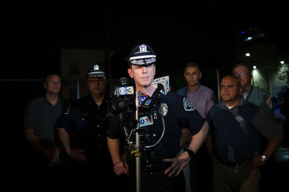 PHOTO: Camden County Police Chief Scott Thomson speaks during a press conference regarding two detectives who were shot, Aug. 7, 2018, in Camden, New Jersey.   Photos released in manhunt for 2 men wanted in ambush attack on New Jersey police police shot us rc 180808 hpEmbed 3x2 992