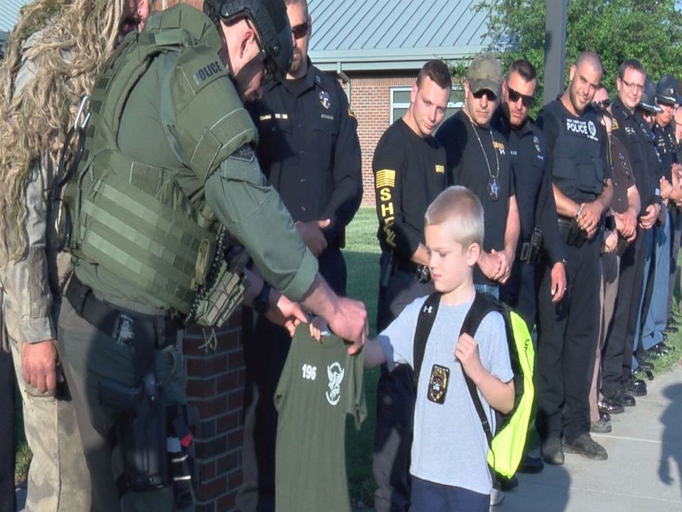 WTHI-TVFive-year-old Dakota Pitts returned to school for the first time since his father's death in the line of duty. But he wasn't alone