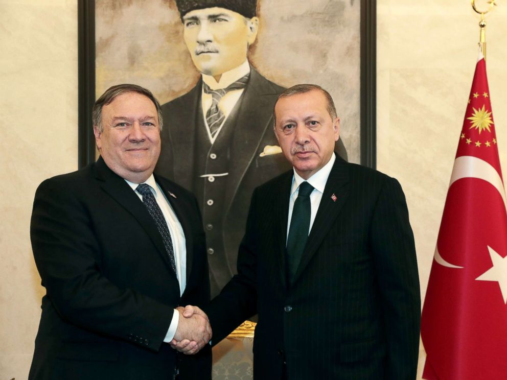 PHOTO: Turkish President Tayyip Erdogan meets with U.S. Secretary of State Mike Pompeo at Esenboga International Airport in Ankara, Turkey, Oct. 17, 2018.