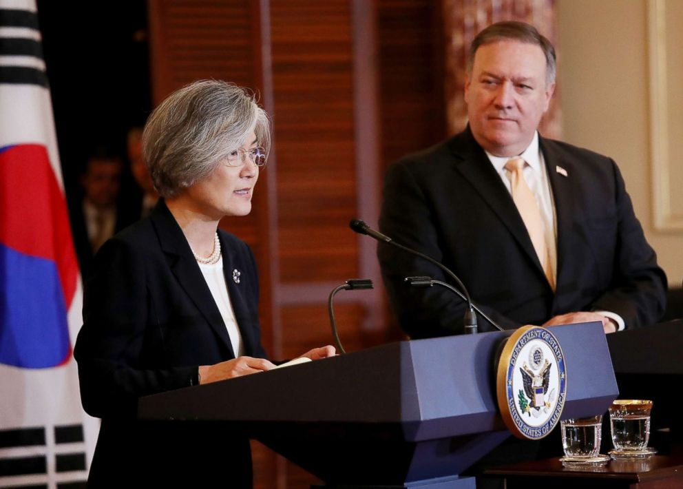 South Korean Foreign Minister Kang Kyung-wha and U.S. Secretary of State Mike Pompeo, right, deliver a joint statement and answer questions during a press conference at the U.S. State Department on May 11, 2018, in Washington, D.C. The two diplomatic leaders met to discuss issues surrounding the likely meeting between U.S. President Donald Trump and North Korean Leader Kim Jong Un.
