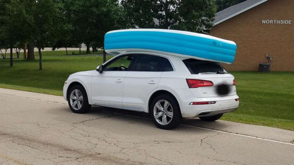 An Illinois woman was arrested for on Tuesday, July 09, 2019, for allegedly driving her SUV while her children sat in an inflatable pool on its roof.