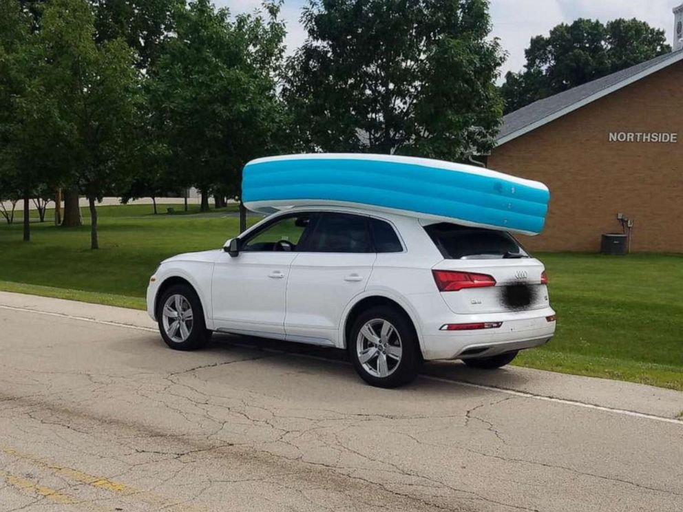 PHOTO: An Illinois woman was arrested for on Tuesday, July 09, 2019, for allegedly driving her SUV while her children sat in an inflatable pool on its roof.