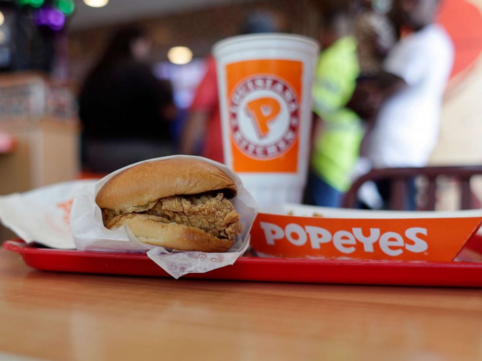 PHOTO: In this photo taken on Aug. 22, 2019, a chicken sandwich is seen at a Popeyes as guests wait in line, in Kyle, Texas.