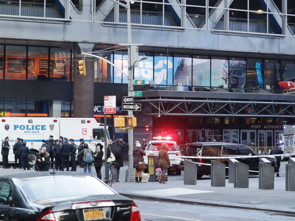 PHOTO: Police activity outside the Port Authority Bus Terminal following reports of a confirmed explosion inside an underground tunnel in the building in New York City, Dec. 11, 2017.