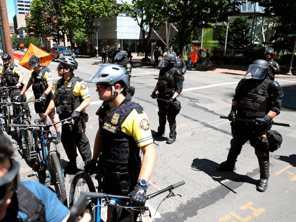 PHOTO: Multiple groups, including Rose City Antifa, the Proud Boys and conservative activist Haley Adams protest in downtown Portland, Ore., June 29, 2019.