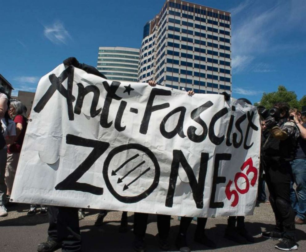 Antifa, or anti-fascist, protesters showed up in Portland, Ore., to counter the Patriot Prayer rally held on Saturday, Aug. 4, 2018.