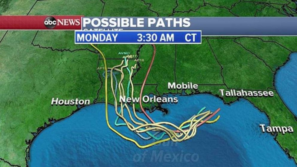 PHOTO: Spaghetti models show the storm most likely making landfall in central Louisiana.